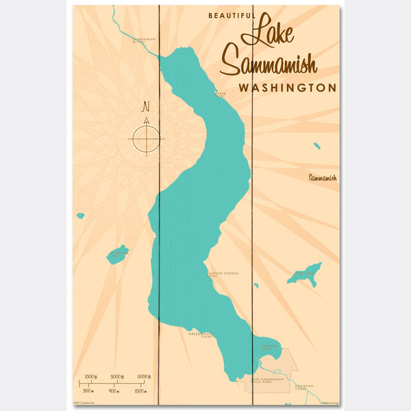 Lake Sammamish Washington, Wood Sign Map Art