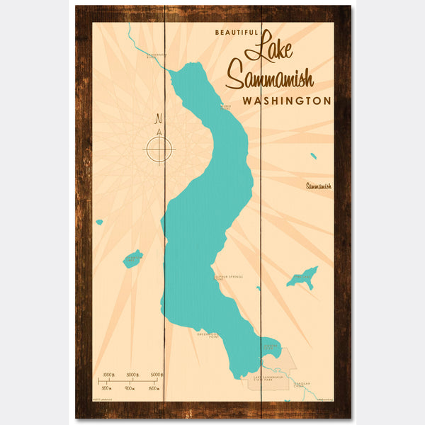 Lake Sammamish Washington, Rustic Wood Sign Map Art
