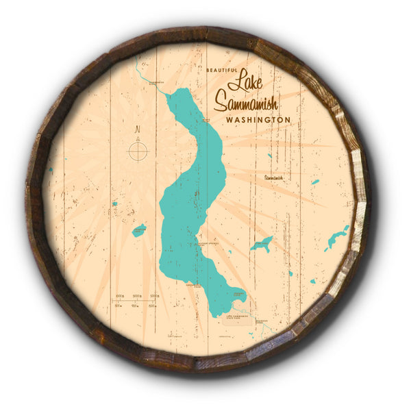 Lake Sammamish Washington, Rustic Barrel End Map Art