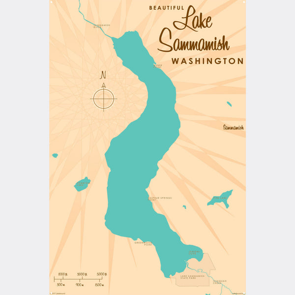 Lake Sammamish Washington, Metal Sign Map Art