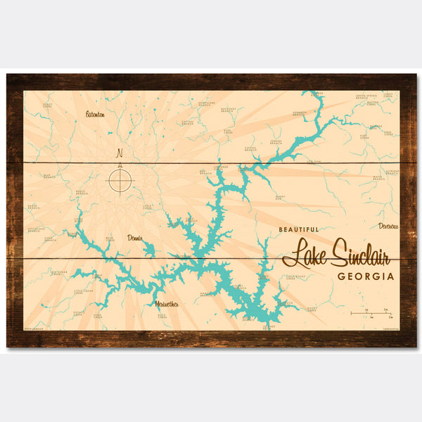Lake Sinclair Georgia, Rustic Wood Sign Map Art