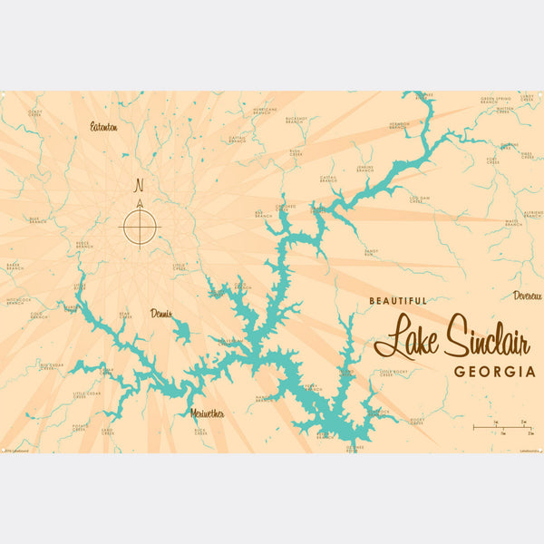 Lake Sinclair Georgia, Metal Sign Map Art