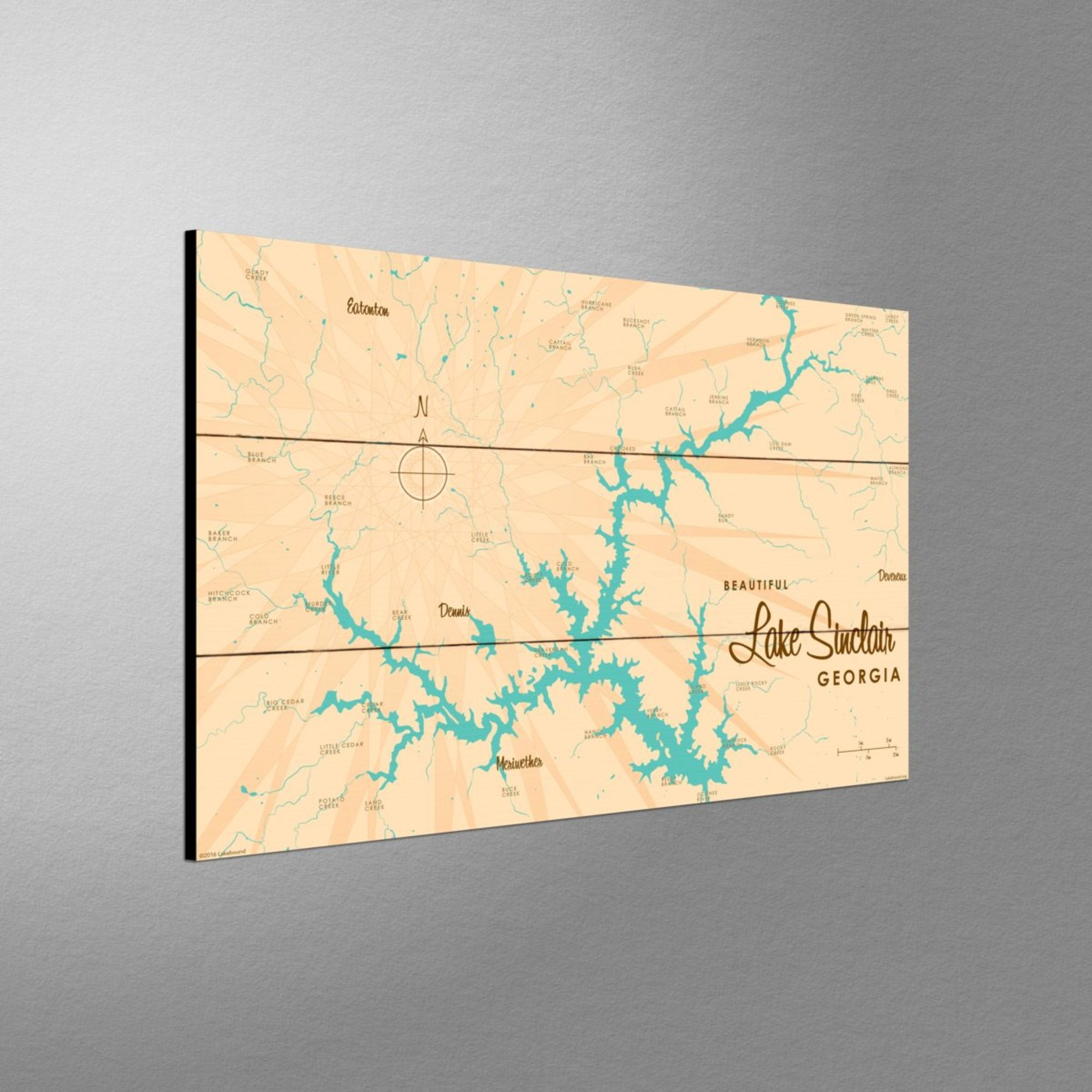 Lake Sinclair Georgia, Wood Sign Map Art