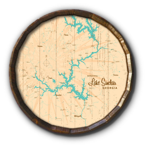 Lake Sinclair Georgia, Rustic Barrel End Map Art