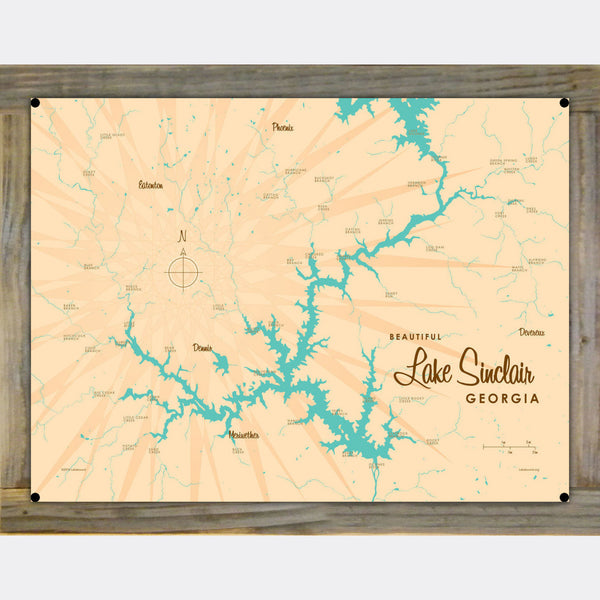 Lake Sinclair Georgia, Wood-Mounted Metal Sign Map Art