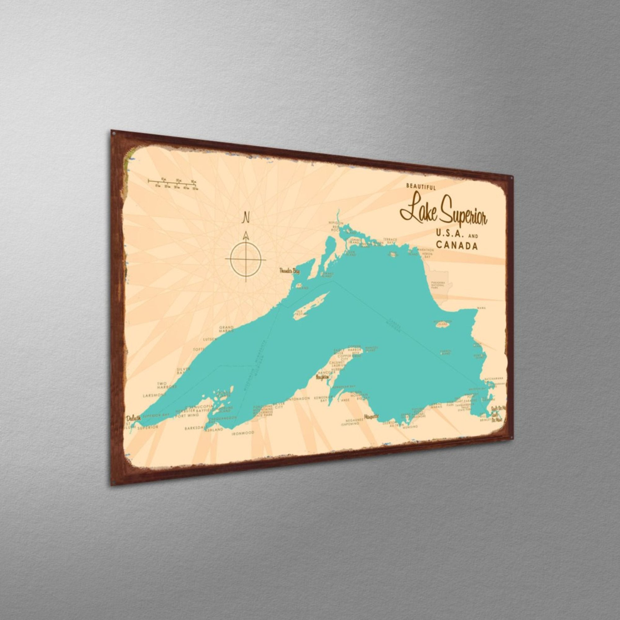 Lake Superior Michigan, Rustic Metal Sign Map Art