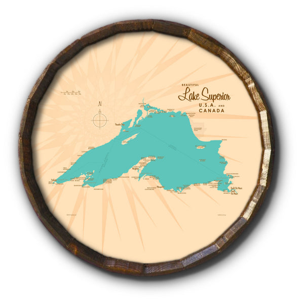 Lake Superior Michigan, Barrel End Map Art