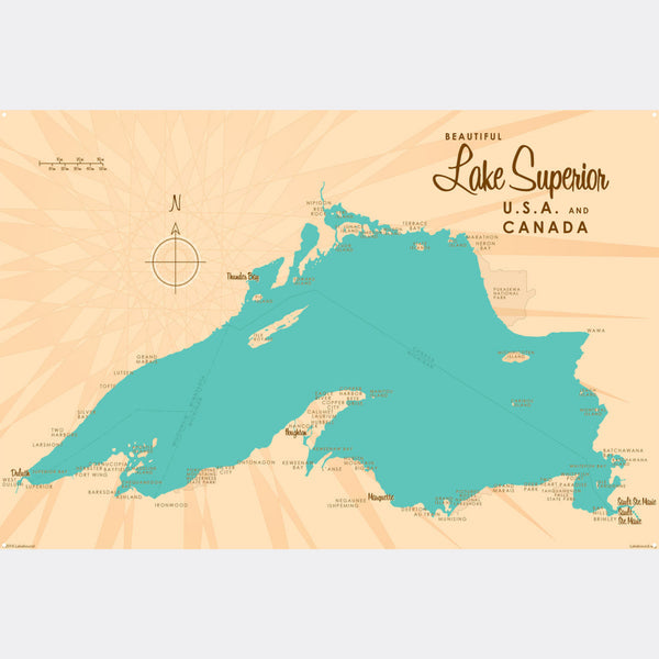 Lake Superior Michigan, Metal Sign Map Art