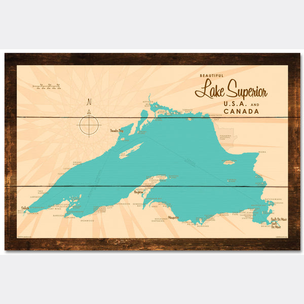 Lake Superior Michigan, Rustic Wood Sign Map Art