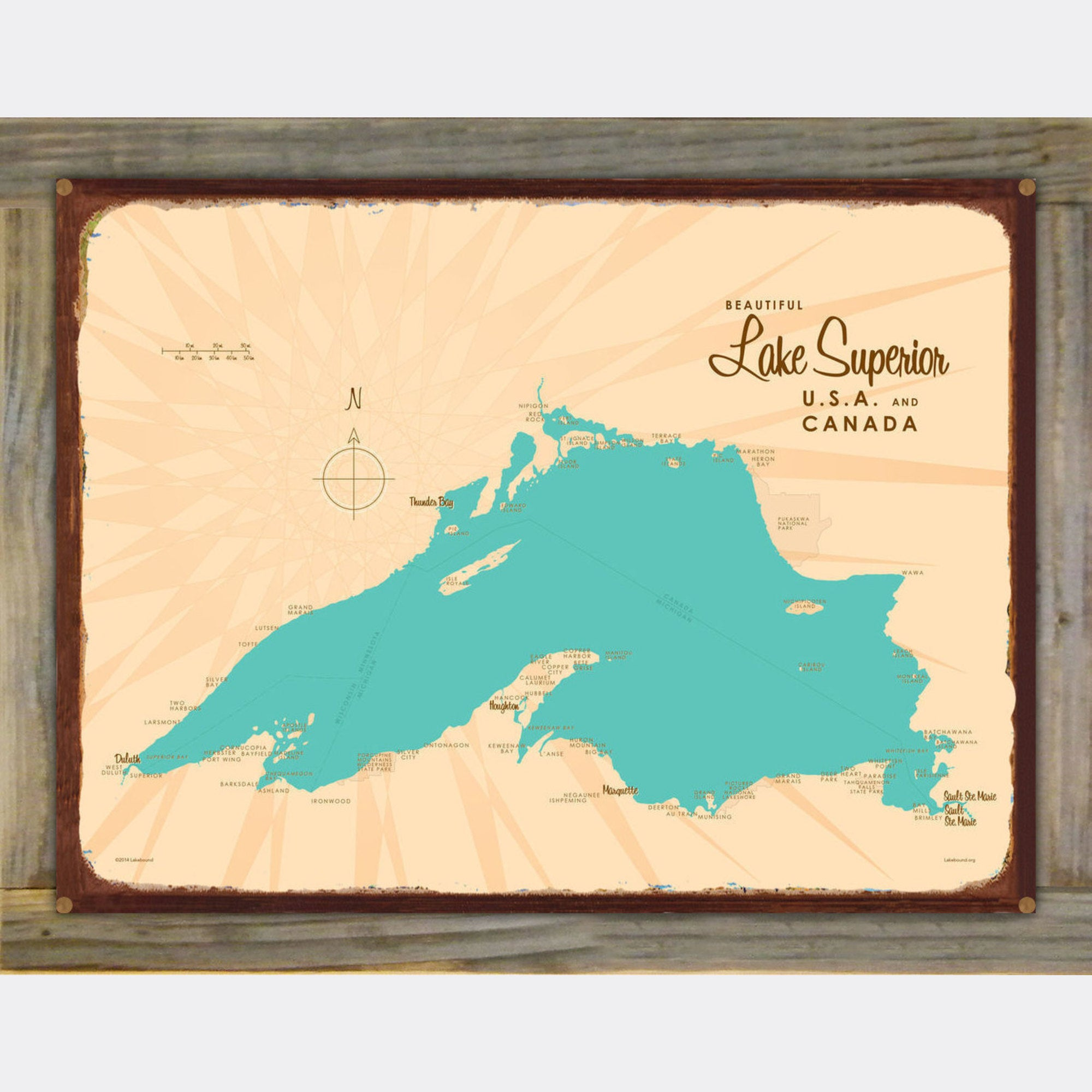 Lake Superior Michigan, Wood-Mounted Rustic Metal Sign Map Art