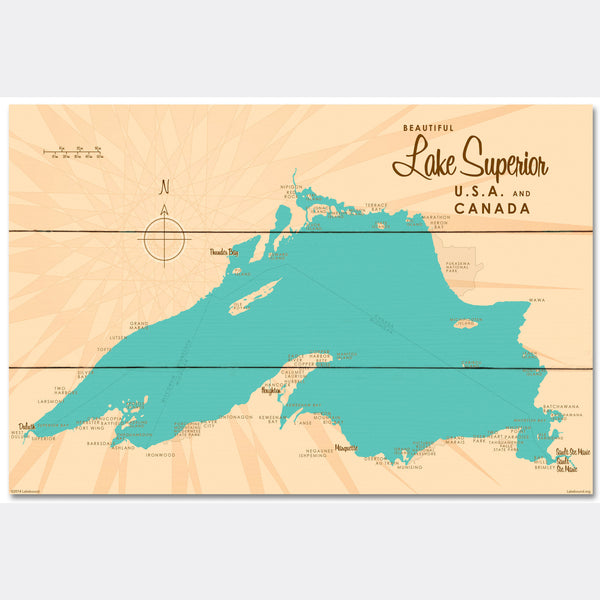Lake Superior Michigan, Wood Sign Map Art