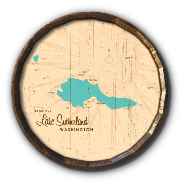 Lake Sutherland Washington, Rustic Barrel End Map Art
