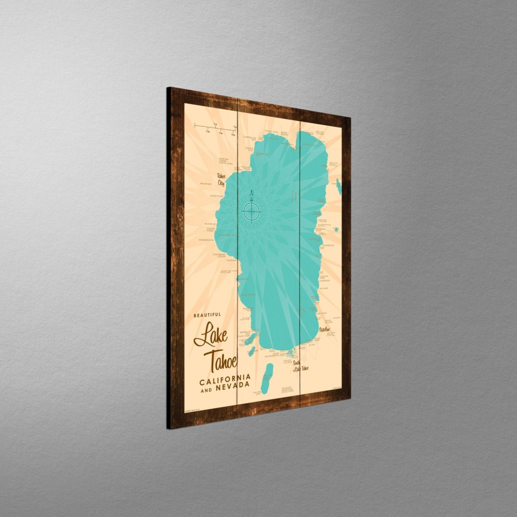 Lake Tahoe CA Nevada, Rustic Wood Sign Map Art