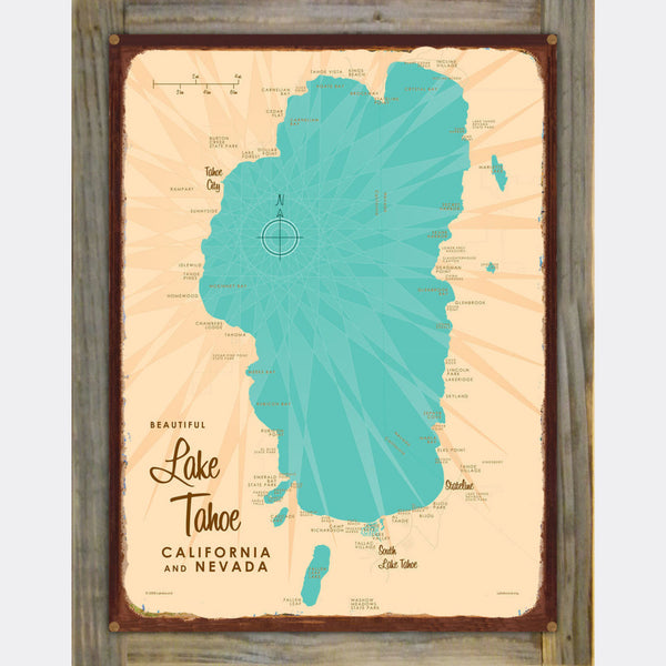 Lake Tahoe CA Nevada, Wood-Mounted Rustic Metal Sign Map Art