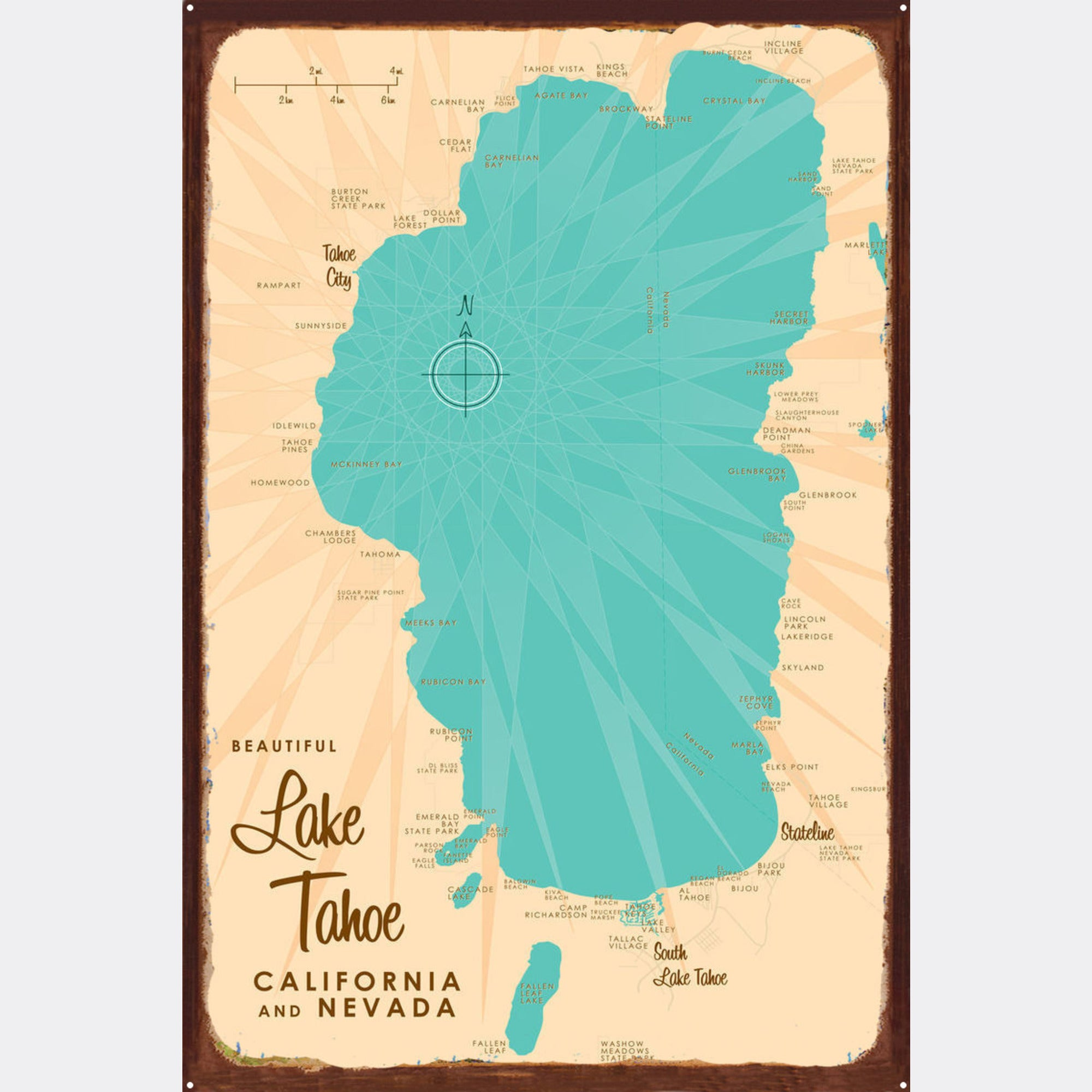 Lake Tahoe CA Nevada, Rustic Metal Sign Map Art