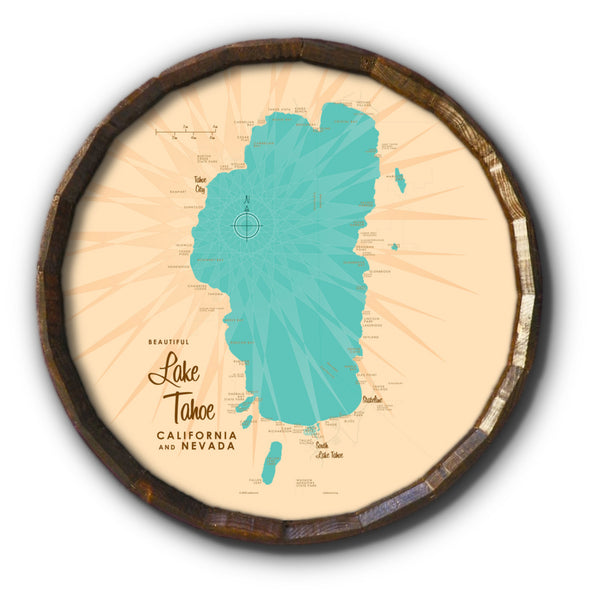Lake Tahoe CA Nevada, Barrel End Map Art
