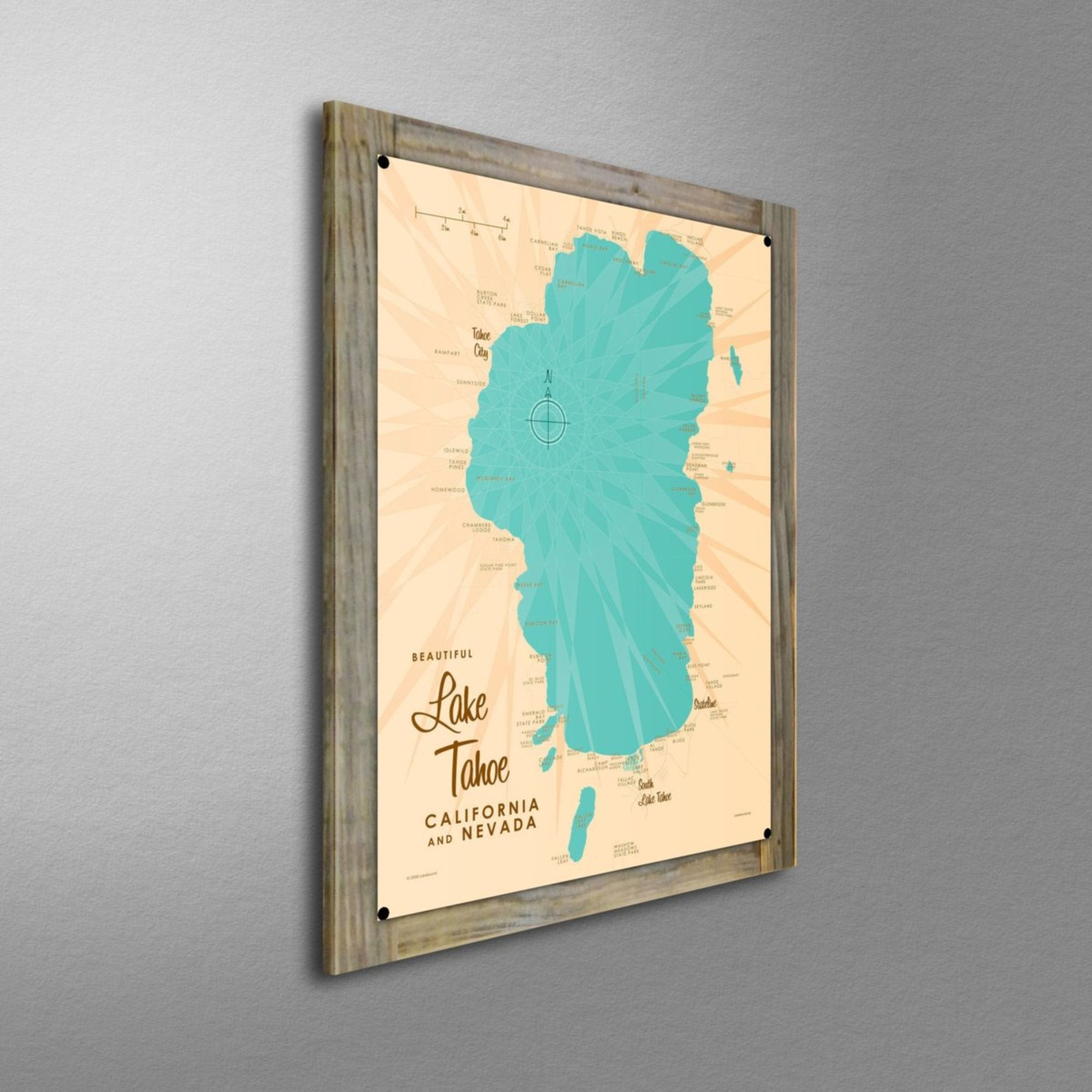 Lake Tahoe CA Nevada, Wood-Mounted Metal Sign Map Art