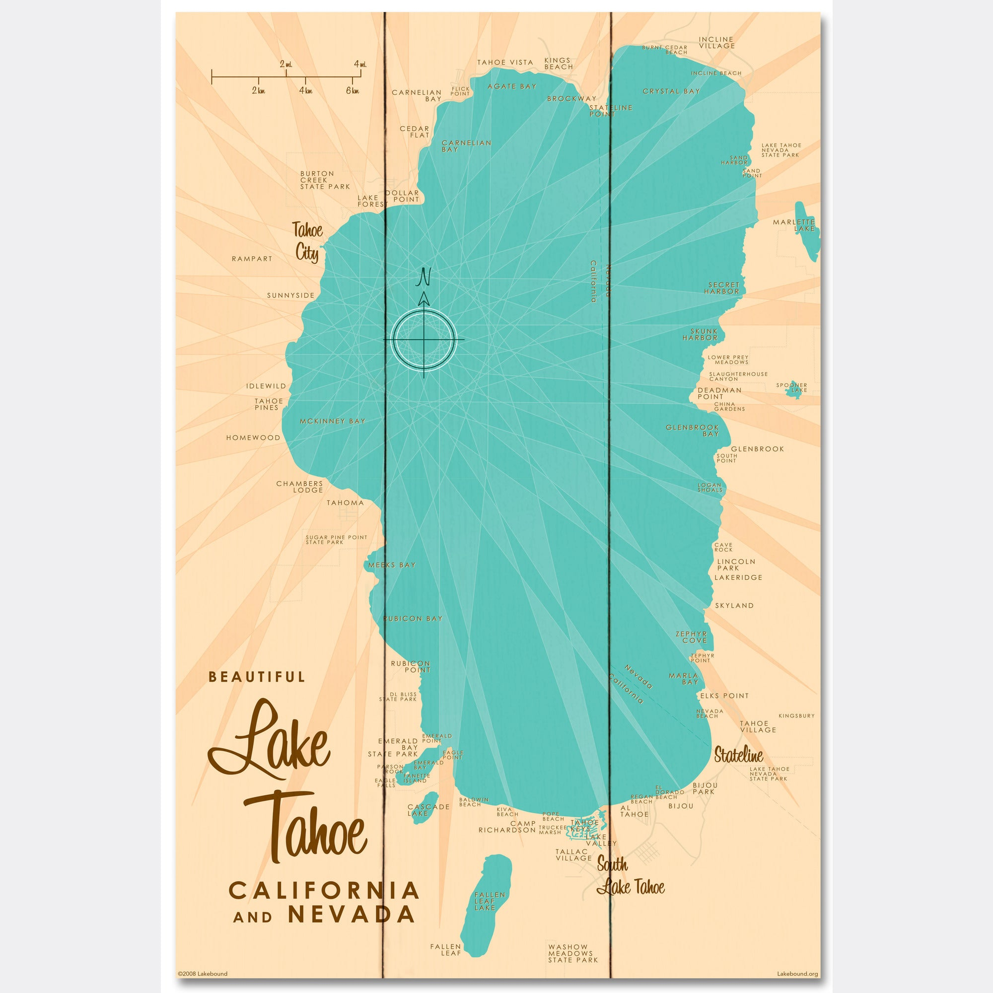 Lake Tahoe CA Nevada, Wood Sign Map Art