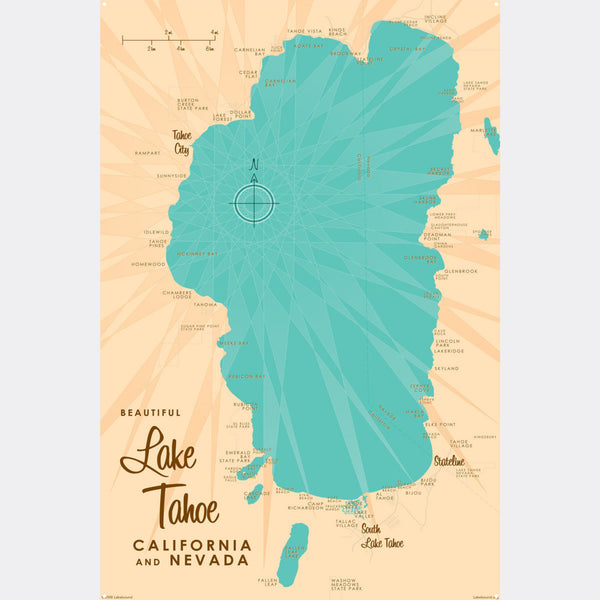 Lake Tahoe CA Nevada, Metal Sign Map Art