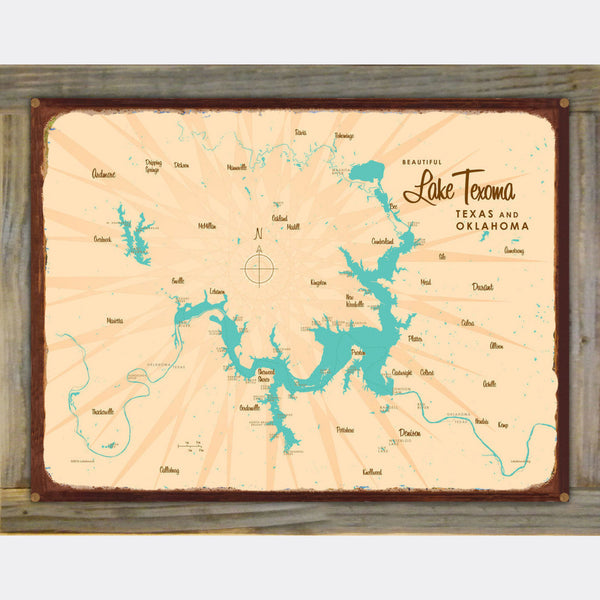 Lake Texoma TX Oklahoma, Wood-Mounted Rustic Metal Sign Map Art