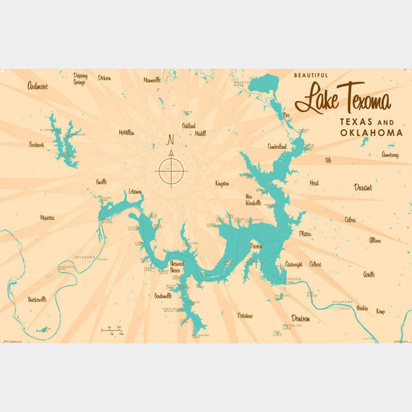 Lake Texoma TX Oklahoma, Metal Sign Map Art