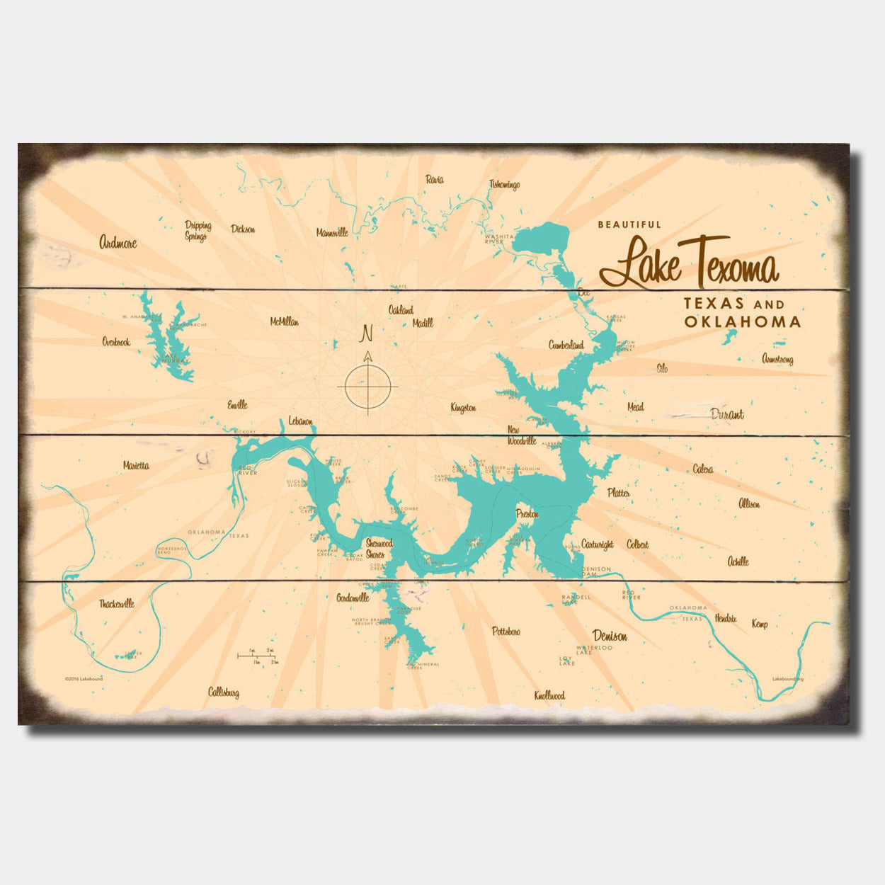 Lake Texoma TX Oklahoma, Sign Map Art