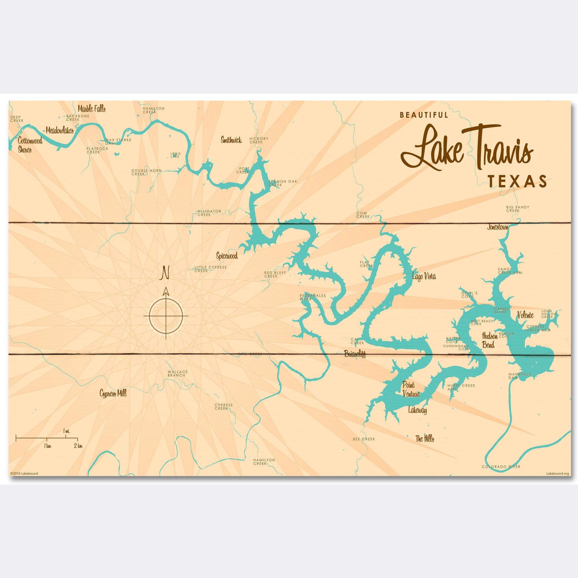 Lake Travis Texas, Wood Sign Map Art