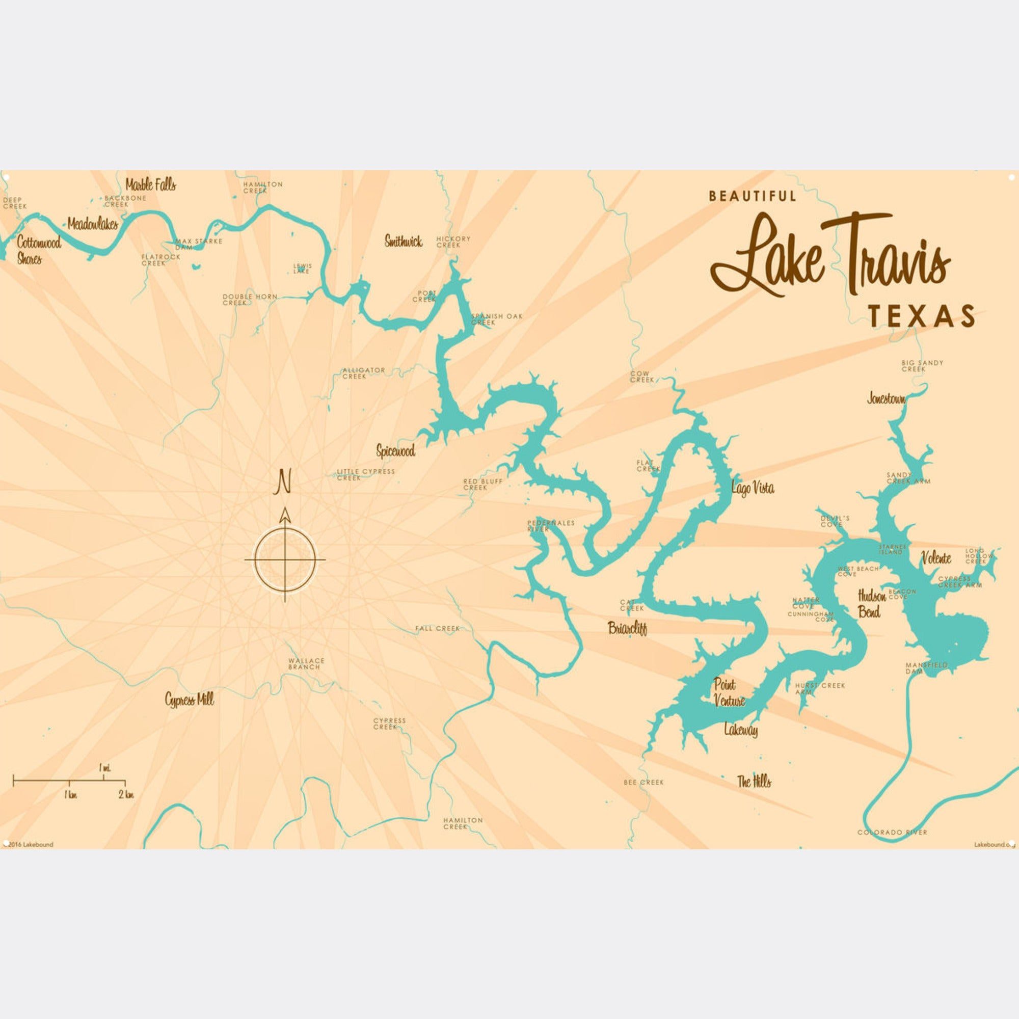 Lake Travis Texas, Metal Sign Map Art