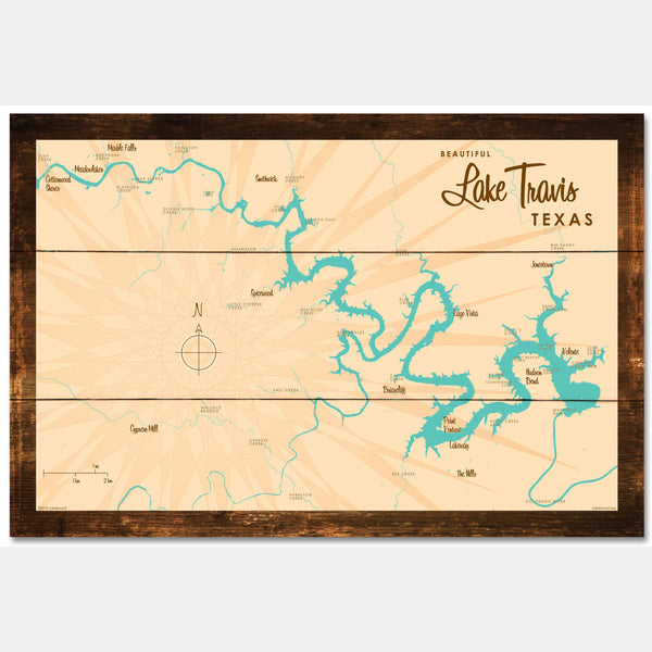 Lake Travis Texas, Rustic Wood Sign Map Art