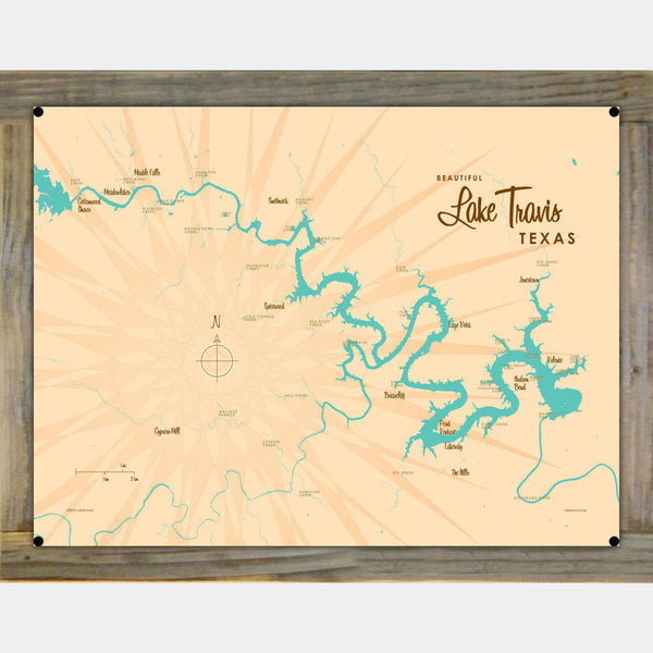 Lake Travis Texas, Wood-Mounted Metal Sign Map Art