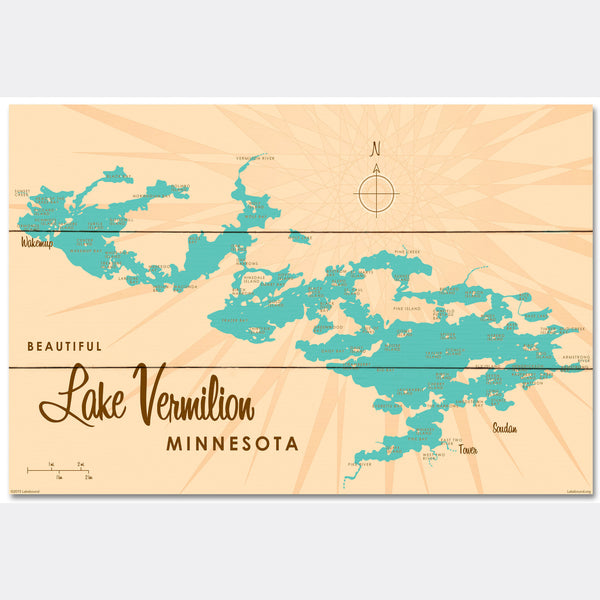 Lake Vermilion Minnesota, Wood Sign Map Art