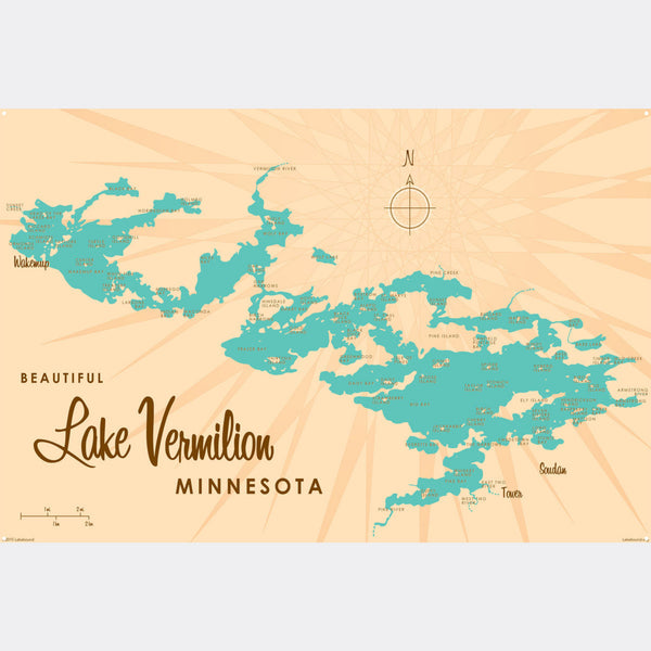 Lake Vermilion Minnesota, Metal Sign Map Art