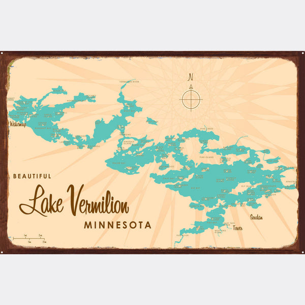 Lake Vermilion Minnesota, Rustic Metal Sign Map Art