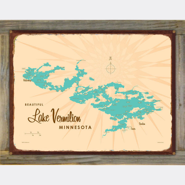 Lake Vermilion Minnesota, Wood-Mounted Rustic Metal Sign Map Art