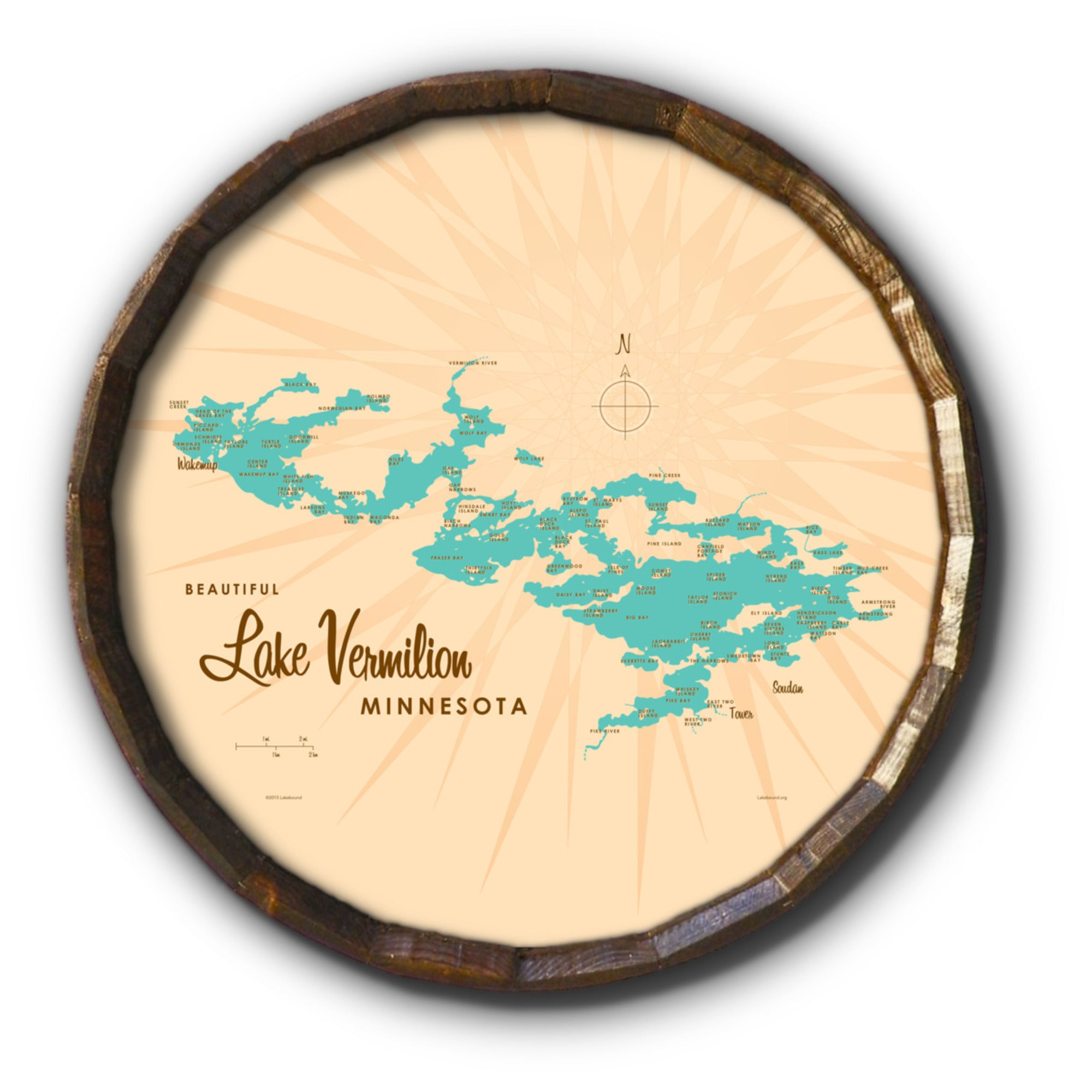 Lake Vermilion Minnesota, Barrel End Map Art