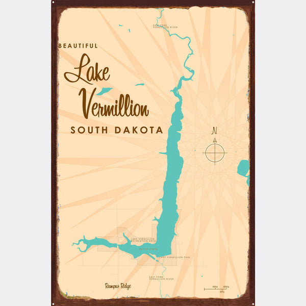 Lake Vermillion South Dakota, Rustic Metal Sign Map Art