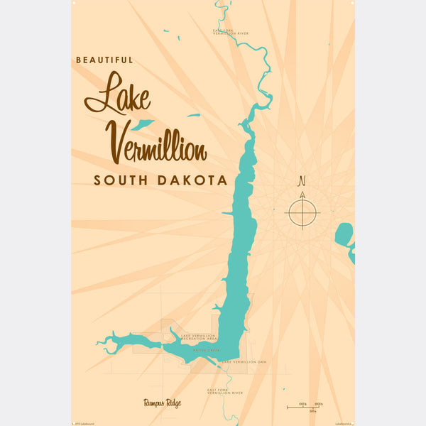 Lake Vermillion South Dakota, Metal Sign Map Art