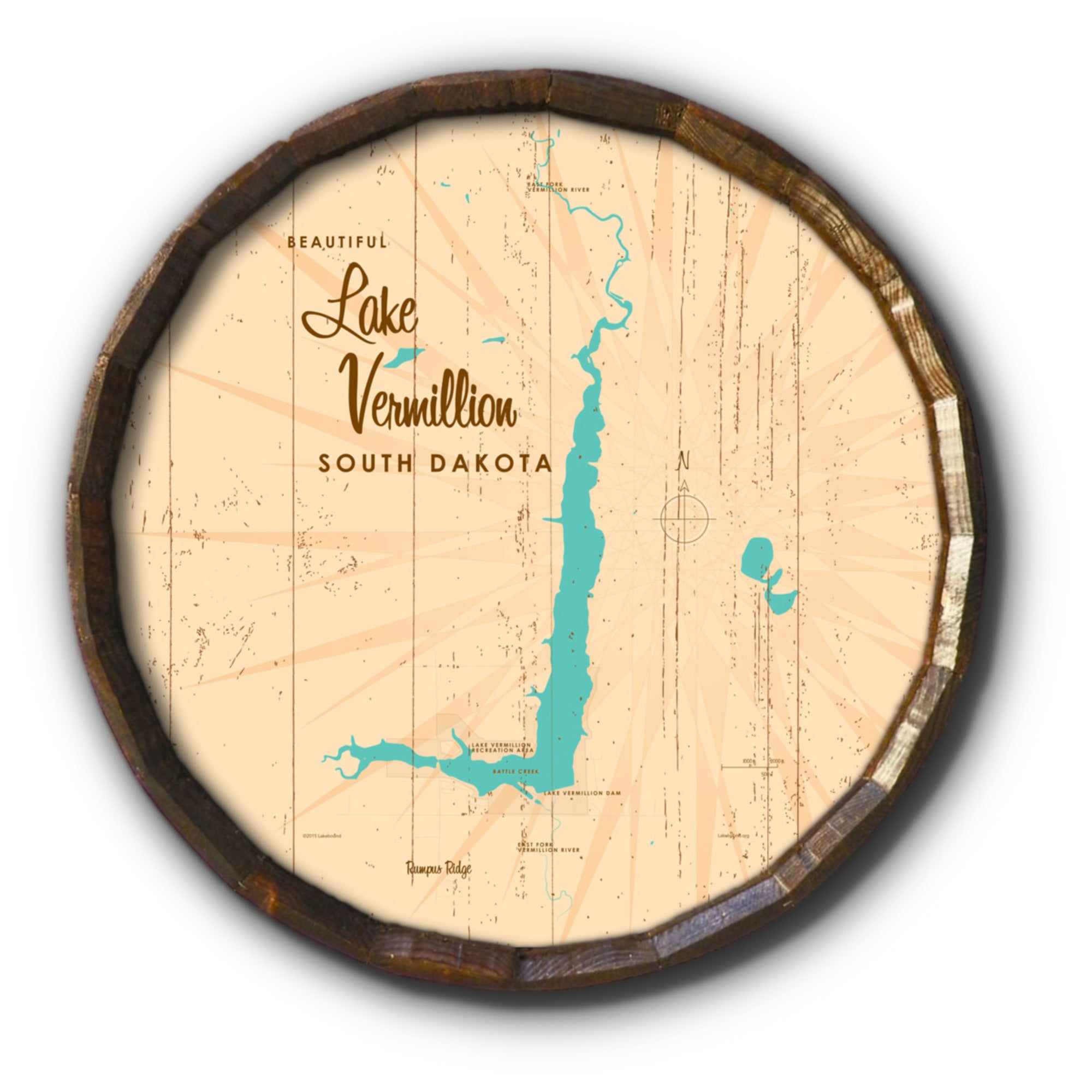 Lake Vermillion South Dakota, Rustic Barrel End Map Art