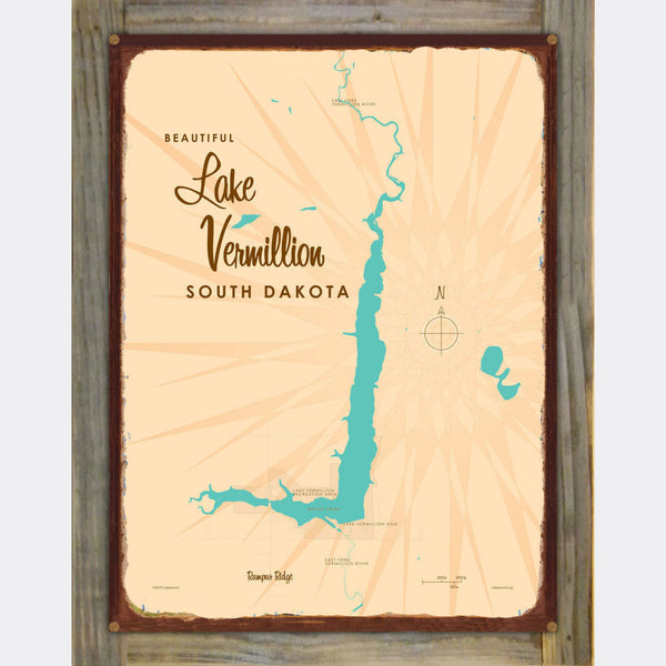 Lake Vermillion South Dakota, Wood-Mounted Rustic Metal Sign Map Art