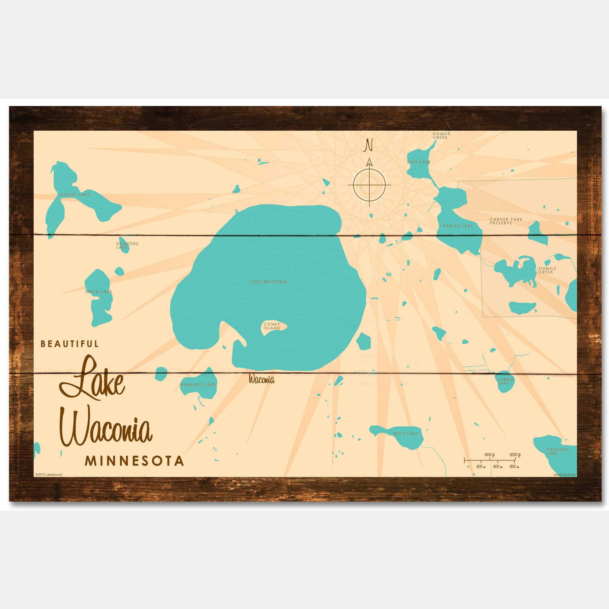 Lake Waconia Minnesota, Rustic Wood Sign Map Art