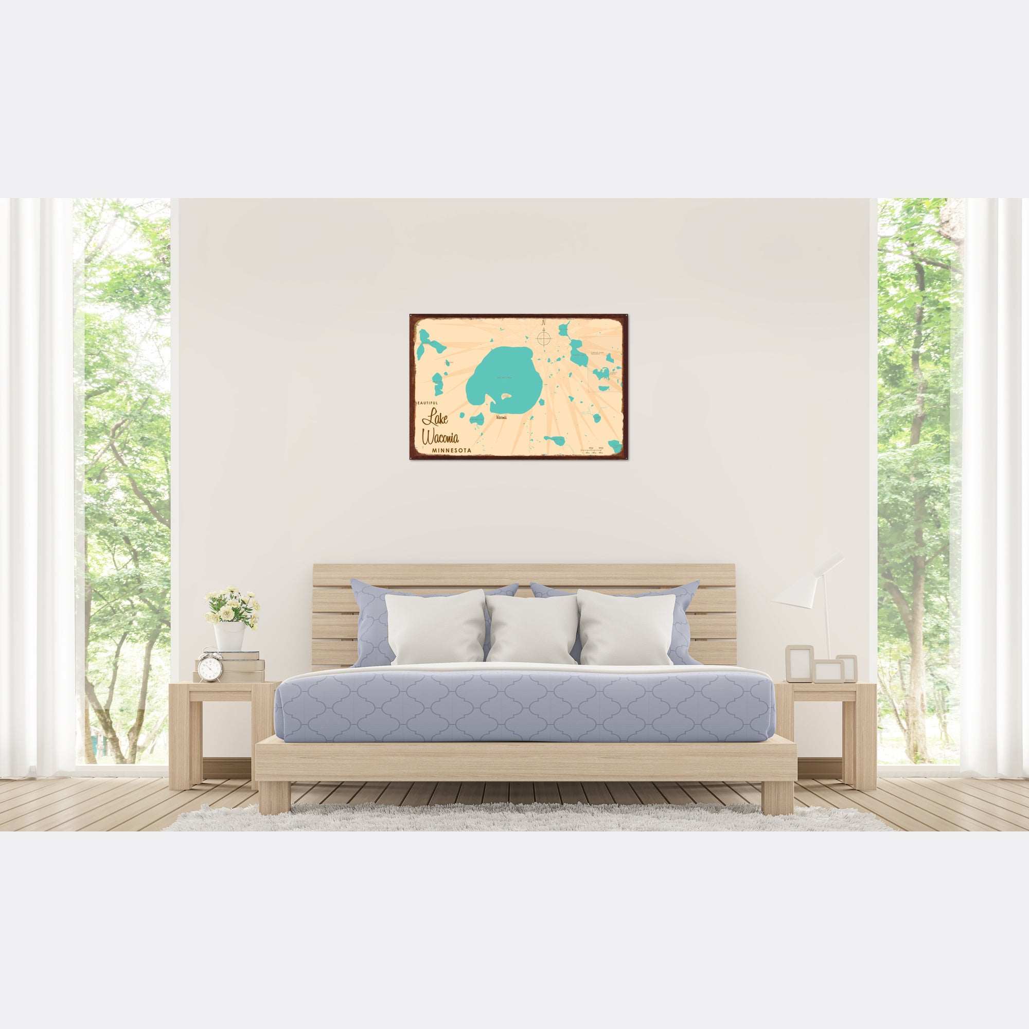 Lake Waconia Minnesota, Rustic Metal Sign Map Art