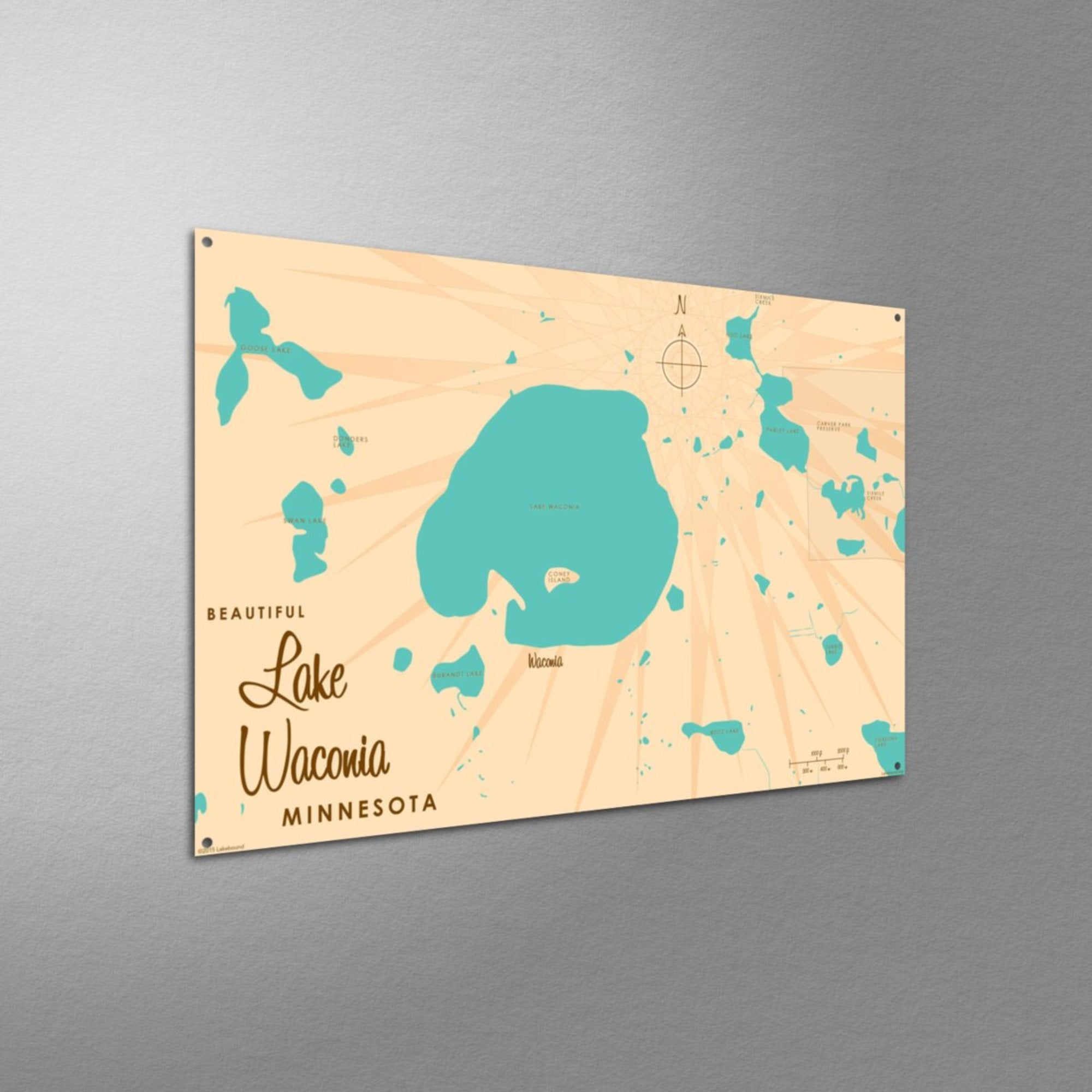 Lake Waconia Minnesota, Metal Sign Map Art