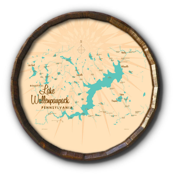 Lake Wallenpaupack Pennsylvania, Barrel End Map Art