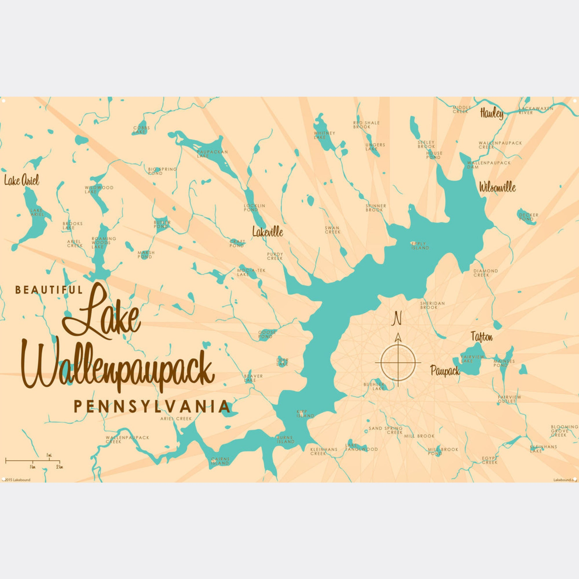 Lake Wallenpaupack Pennsylvania, Metal Sign Map Art