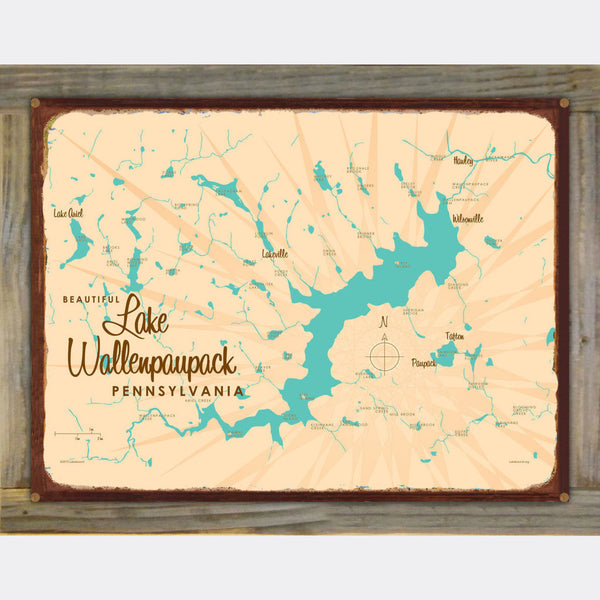Lake Wallenpaupack Pennsylvania, Wood-Mounted Rustic Metal Sign Map Art