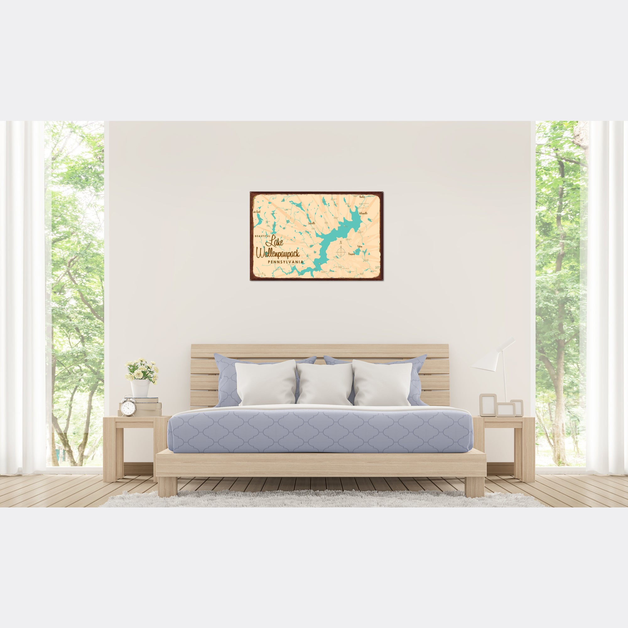 Lake Wallenpaupack Pennsylvania, Rustic Metal Sign Map Art