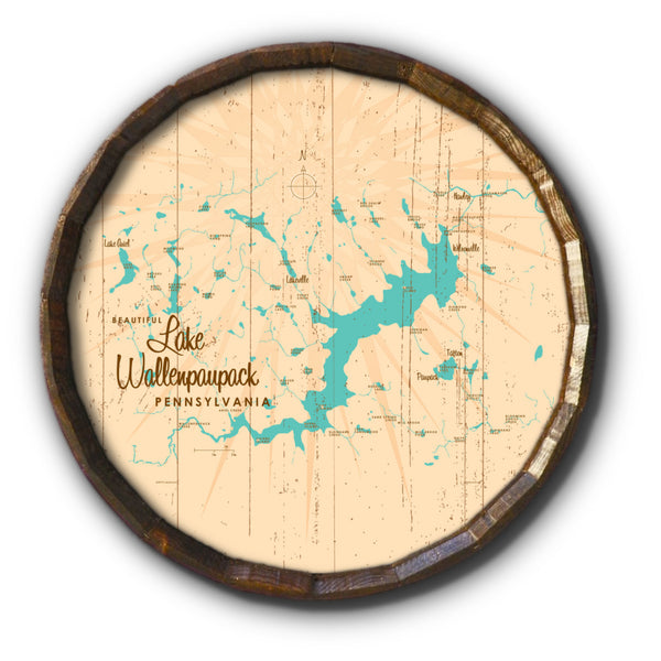 Lake Wallenpaupack Pennsylvania, Rustic Barrel End Map Art