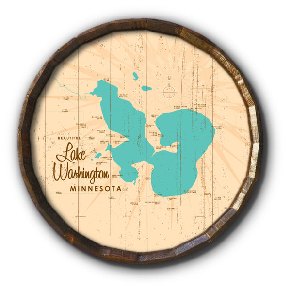 Lake Washington Minnesota, Rustic Barrel End Map Art