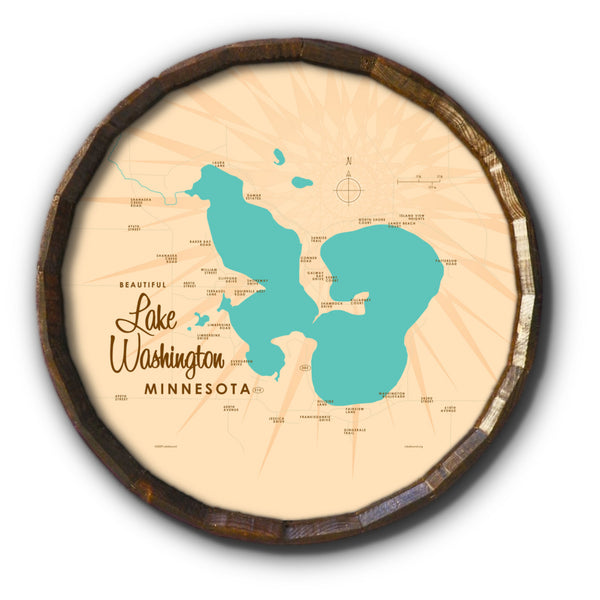 Lake Washington Minnesota, Barrel End Map Art
