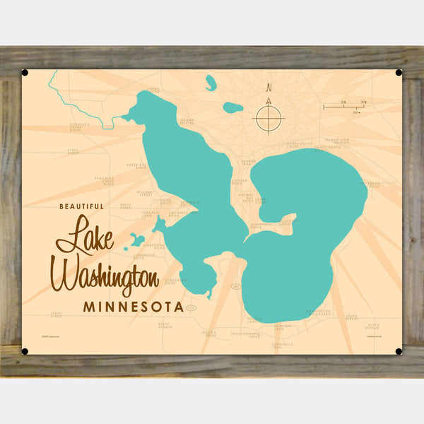 Lake Washington Minnesota, Wood-Mounted Metal Sign Map Art
